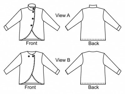 Albany Jacket Sizes, Yardage and Notions