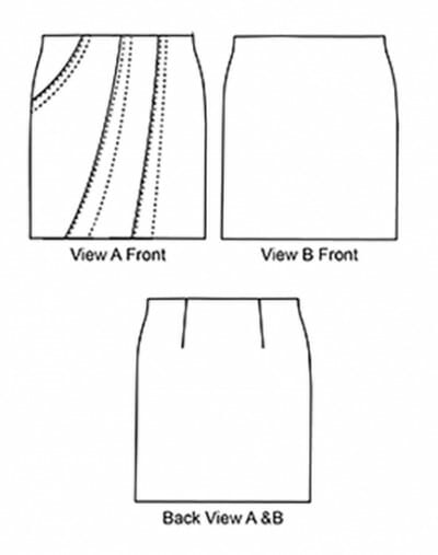 Monterey Skirt Front and Back Views