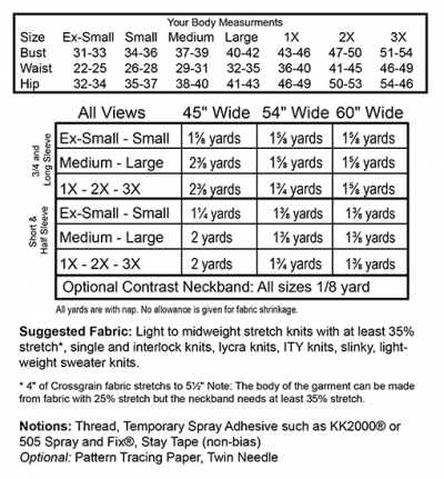 Savannah Tee Size and Yardage Info