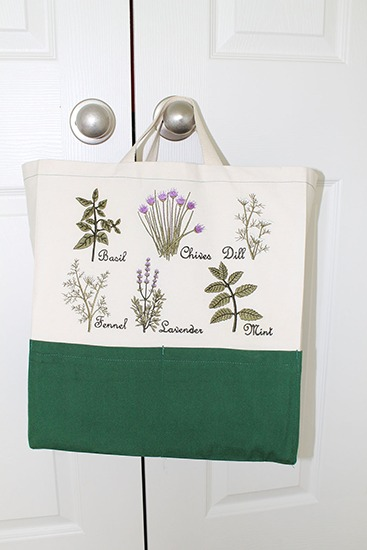 Ten Pocket Tote with My Herb Garden Embroidery